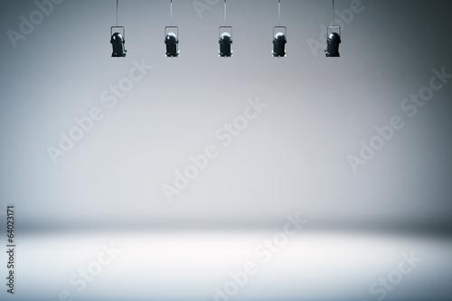 Obraz na płótnie photo studio background with spotlights