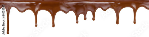 Canvas Print pouring chocolate dripping from cake top isolated on white backg