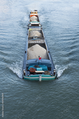 Barge on the Seine River, Melun, France Fototapeta