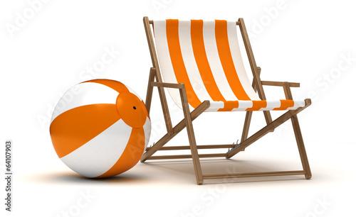 Fotografie, Obraz Beach Chair and Beach Ball
