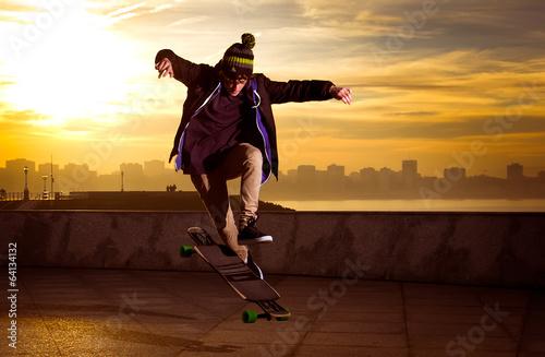 Canvas Print teen skateboarder