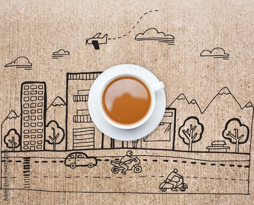 Composite image of white cup of tea