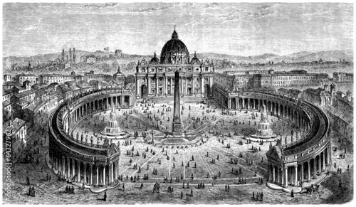 Fotografia, Obraz St Peter Church - Vatican-Rome - View 16th century