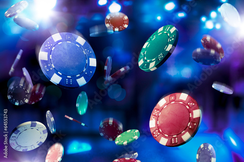 Canvas Print High contrast image of casino chips falling