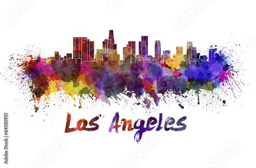 Los Angeles skyline in watercolor #64580951