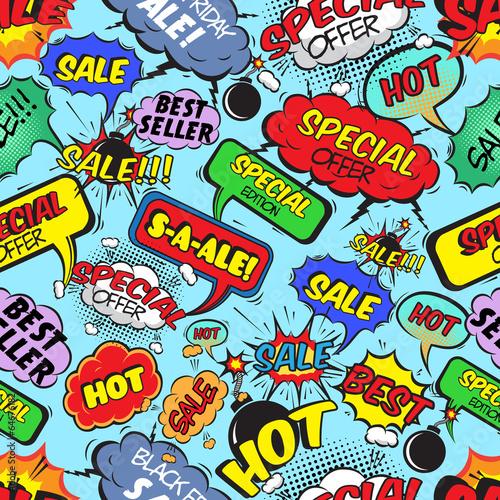 Fototapeta Kolorowe, rysunkowe napisy dotyczące sprzedaży na wymiar