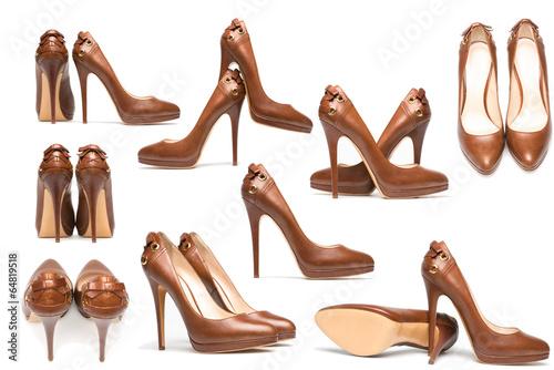 Fotografia, Obraz elegant high heel shoes on white
