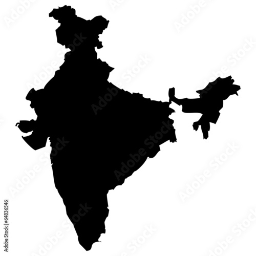 High detailed vector map - India.