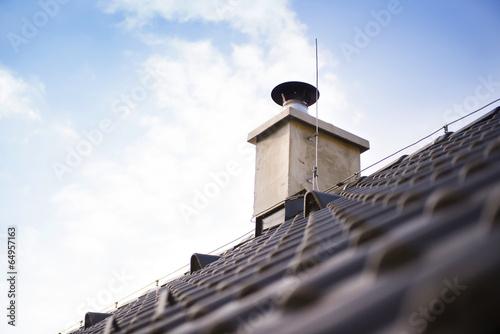 Fotografering Roof chimney