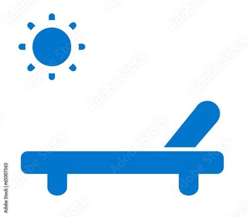 Tableau sur Toile Chaise longue bleu au soleil