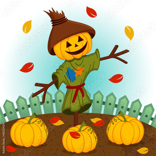 Fotografia scarecrow with a pumpkin head - vector illustration, eps