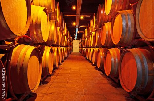 wine - wooden barrels - cellar