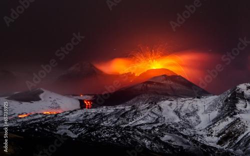 Canvas Print Eruption volcano Etna lava flow