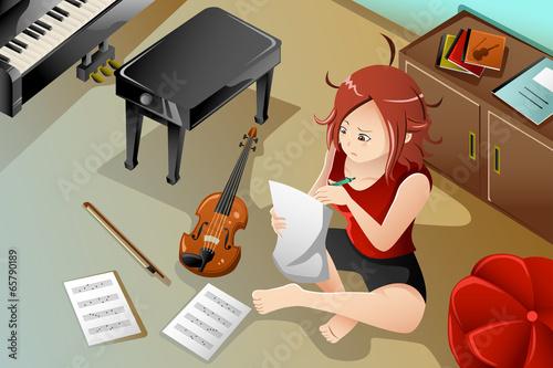 Obraz na plátně Songwriter with her violin