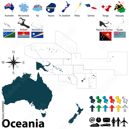 Photo Political map of Oceania