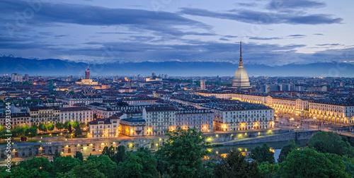 Stampa su Tela Turin (Torino), high definition panorama at twilight