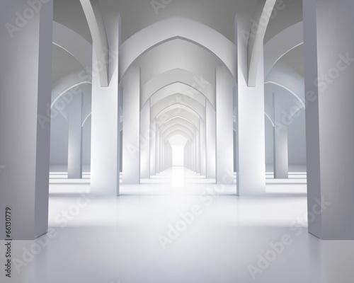 Long hallway. Vector illustration.