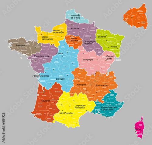 Obraz na płótnie france 14 régions+départements 6 calques propres