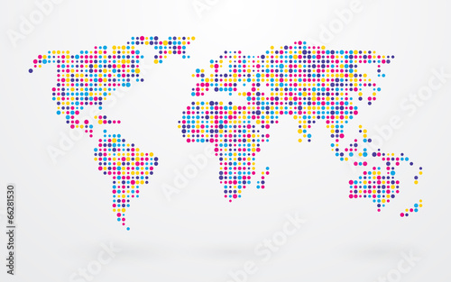 Fototapeta premium mapa świata składa się z małych kolorowych kropek