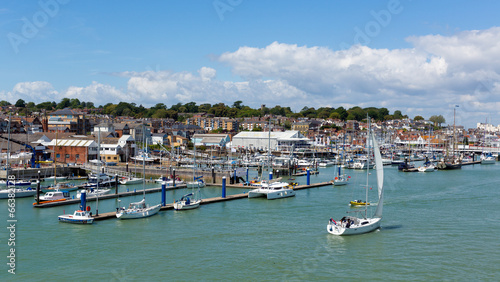 Canvas Print Boats in Cowes harbour Isle of Wight