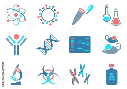 Stampa su Tela Biology science icons