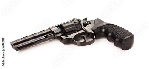 Fotografie, Obraz black revolver on the white background