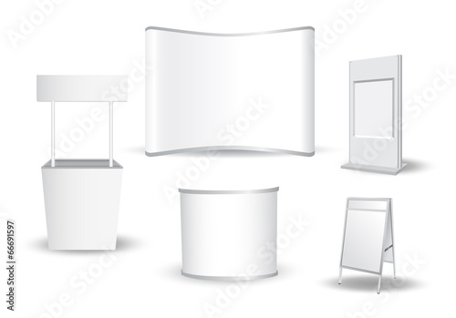 Fotografie, Obraz Set of blank exhibition stand