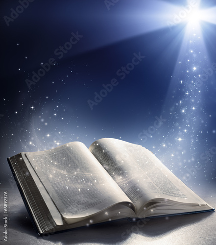Fotografie, Obraz Open Bible with the wind of God's word