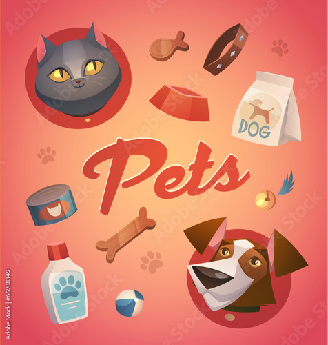 Pets background. Cartoon styled vector illustration.
