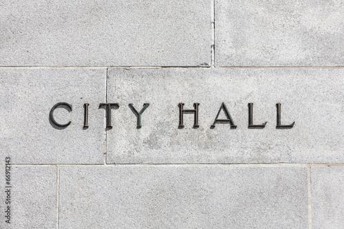 Granite Wall CIty Hall Sign Tapéta, Fotótapéta