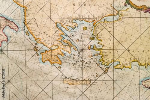 Valokuva Old map of Greece, western Turkey, Albany, Crete