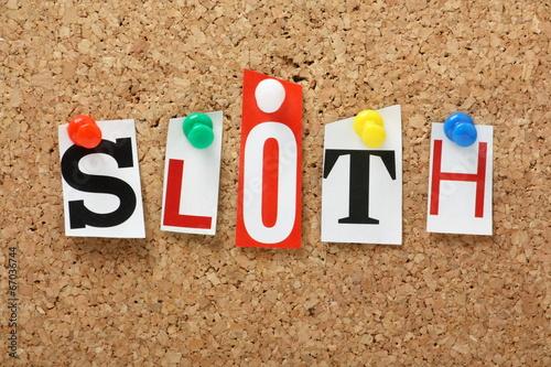 Fotografia, Obraz The word Sloth on a cork notice board