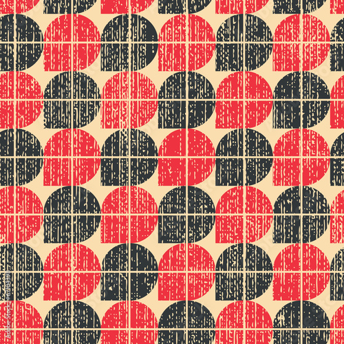Colorful worn textile geometric seamless pattern, contrast abstr