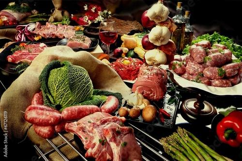 Fotografia, Obraz carne cruda mista composizione