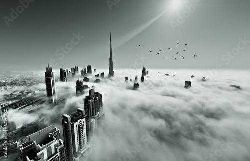 Fotografia, Obraz Dubai skyline in fog