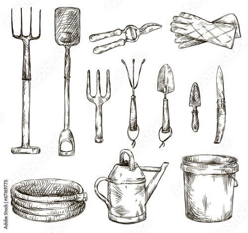 Fotografia, Obraz Set of gardening tools drawings, vector illustrations