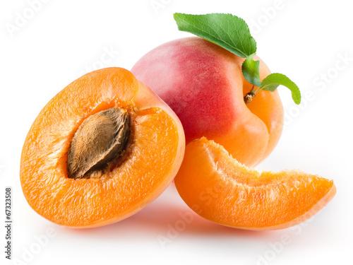 Obraz na plátně Apricot, half and piece isolated on white background
