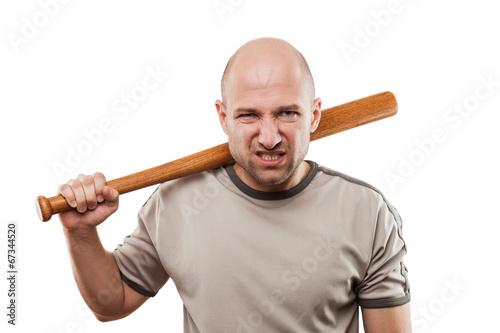 Obraz na plátne Angry man hand holding baseball sport bat