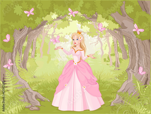 Strolling princess in the fantastic wood