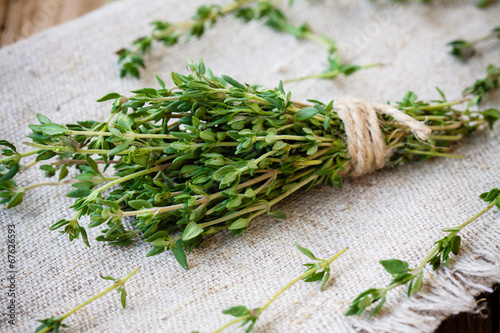 Fotografie, Obraz bundle of fresh thyme on sackcloth