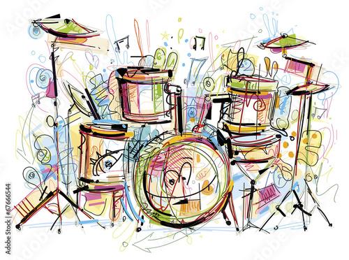 Stampa su Tela Drums Set