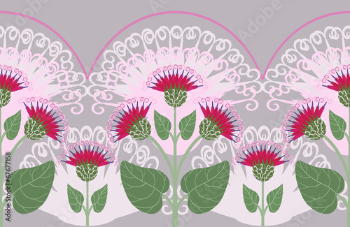 Seamless border with burdock flowers Poster Mural XXL