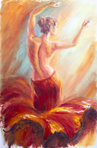 Beautiful dancing woman in red. Oil painting.