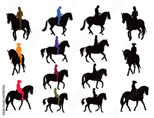 Horse rider silhouettes Poster Mural XXL