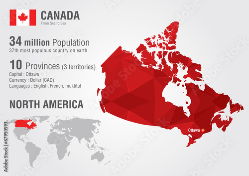 Fotografie, Obraz Canada world map with a pixel diamond texture.