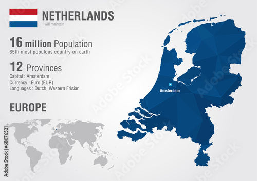 Canvas Print Netherlands world map with a pixel diamond texture.