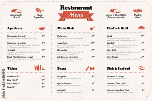 Carta da parati restaurant food menu design template