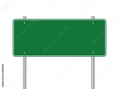 Photo Blank green traffic road sign
