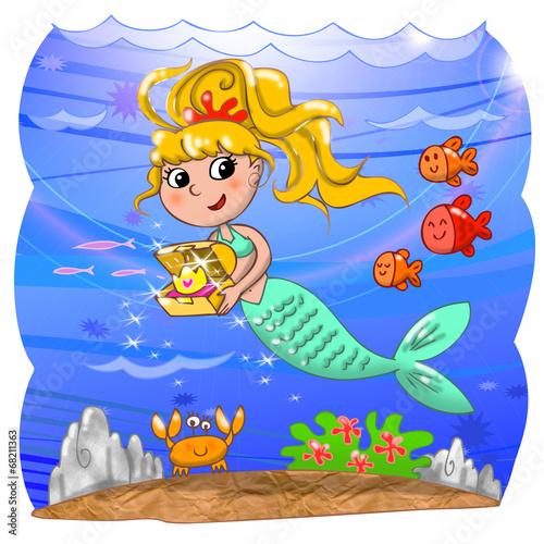 Cute mermaid with treasure box in the ocean.
