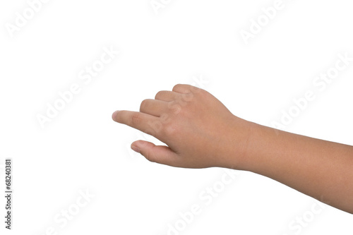 A little boy's hand touches the touch screen
